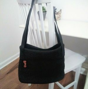 Black Crochet Relativity bag with leather accents